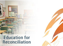 'Education for Reconciliation'. An artistic blend of a photo of a classroom and the Truth and Reconciliation Commission logo. \